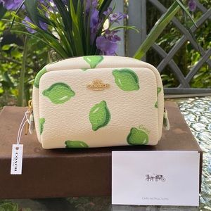 Coach White & Green Mini Cosmetics Case NWT